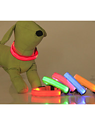 Dog Collar LED Lights Adjustable / Retractable Solid Nylon Yellow Red Green Blue Pink