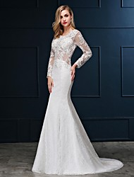 cheap -Mermaid / Trumpet Scoop Neck Sweep / Brush Train Lace Over Satin Made-To-Measure Wedding Dresses with Crystals by LAN TING Express / Illusion Sleeve / See-Through