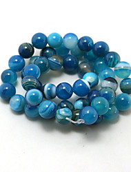 Beadia 39Cm/Str (Approx 48PCS) Natural Agate Beads 8mm Round Dyed Blue Stone Loose Beads DIY Accessories