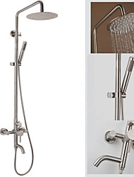 cheap -Contemporary Wall Mounted Waterfall Rain Shower Handshower Included Brass Valve Three Holes Single Handle Three Holes Nickel Brushed,
