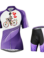 Arsuxeo Cycling Jersey with Shorts Women's Short Sleeves Bike Jersey Shorts Clothing Suits Quick Dry Anatomic Design Breathable YKK