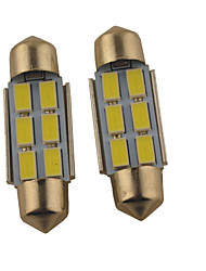 preiswerte -2pcs carking ™ Girlande 36mm / 39mm 1.2W 6 * 5630smd 140ml 6000k weißes Licht geführt rome Lampe (DC 12V)
