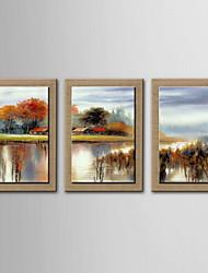 pittura a olio paesaggio astratto a mano tela dipinta con allungato incorniciato - set di 3