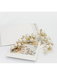 baratos -Mulheres Pérola Brincos Compridos - Pérola, Imitação de Pérola, Strass Fashion Branco Para Diário / Imitações de Diamante