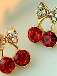 cheap -Women's Cute Red Cherry Delicate Diamond Earrings Elegant Style