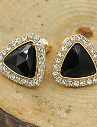 Feminino Brincos Curtos Cristal Moda Europeu bijuterias Strass Chapeado Dourado 18K ouro Imitações de Diamante Cristal Austríaco Jóias