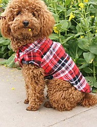 cheap -Cat Dog Shirt / T-Shirt Dog Clothes Plaid/Check Red Green Blue Cotton Costume For Pets Cosplay Wedding