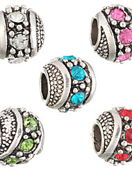 cheap -Diy Beads Fashion Rhinestone Round Shape Large Hole Beads 5Pcs