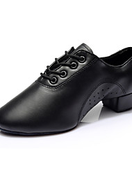 "cheap -Men's Latin Salsa Ballroom Leatherette Split Sole Heel Indoor Professional Beginner Practice Lace-up Chunky Heel Black 1"" - 1 3/4"" Non"