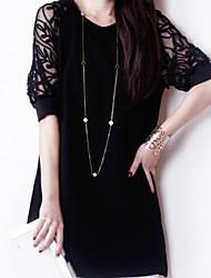 baratos -Mulheres Sofisticado Reto Vestido - Renda, Sólido Acima do Joelho