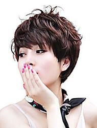 Недорогие -шапки цветовой гаммы дополнительных короткий высокого качества естественный вьющиеся волосы синтетический парик с боковой челкой
