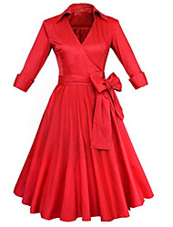 Feminino Evasê Vestido, Festa/Coquetel Vintage Sólido Decote V Altura dos Joelhos Manga ¾ Vermelho Preto Algodão Poliéster Primavera Verão