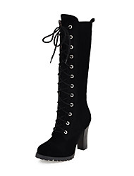 cheap -Women's Shoes Leatherette Winter Chunky Heel 30.48-35.56 cm / Knee High Boots Lace-up Black / Yellow
