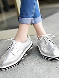 cheap -Women's Shoes Leatherette Spring / Summer / Fall Low Heel Lace-up White / Black / Silver