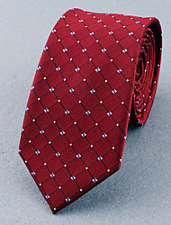 Gravatas ( Vermelho/Azul Marinho , Poliéster ) Estampado/Grade/Forma Livre
