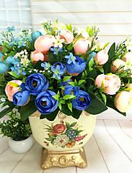 billige -1 Afdeling Polyester Kamelia Bordblomst Kunstige blomster
