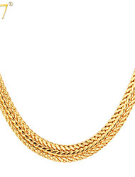 cheap -U7® Men's Classic Thick Foxtail Chains 18K Gold/Rose Gold/Platinum Plated Men Jewelry 22'' Fashion Choker Necklaces