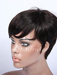povoljno -6 '' Rihanna prekinuta ljudske kose perika neprerađeni djevica Brazilski glueless nitko čipke stroj napravljen ljudske kose perika