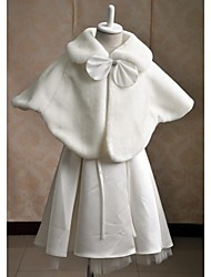 Sleeveless Faux Fur Wedding Party Evening Casual Kids' Wraps With Rhinestone Bow Capelets