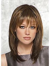 Недорогие -шапки цветовой гаммы большая длина высокое качество естественно прямые волосы синтетический парик с боковой челкой