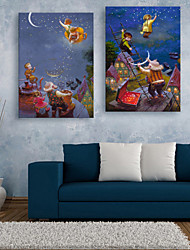 cheap -E-HOME® Stretched LED Canvas Print Art People Who Climb Up The Sky LED Flashing Optical Fiber Print Set of 2