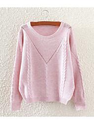 abordables -Mujer Regular Pullover Un Color Escote Redondo Manga Larga Algodón Otoño Medio Microelástico