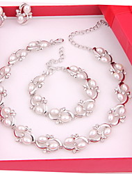 cheap -Trendy Moon Style Women Costume Party Sliver Plated Imitation Pearl Jewelry Sets