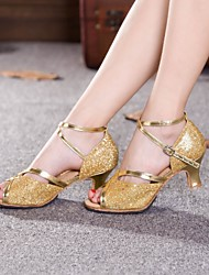 billige -Dansesko(Blå Sølv Guld Fuchsia) -Kan ikke tilpasses-Cubanske hæle-Damer-Latin