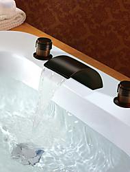 abordables -Antique Diffusion large Jet pluie Soupape en laiton Deux poignées trois trous Bronze huilé, Robinet lavabo