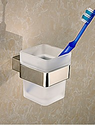 cheap -Square Toothbrush Holder Tumble Holder in Stainless Steel with Glass Cup Bathroom Accessories