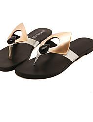 baratos -Mulheres Sapatos Courino Verão MaryJane Sem Salto Preto / Prata