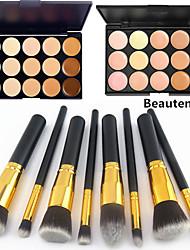 cheap -8PCS Golden Black Handle Cosmetic Makeup Brush Set&15 Colors Natural Concealer(2 Color Concealer Choose)