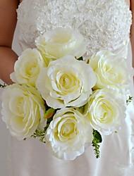 abordables -Fleurs de mariage Forme libre Roses Bouquets Mariage / Le Party / soirée Rose / Vert / Blanc / Champagne Satin / Soie Env.26cm