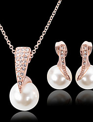 cheap -Jewelry Set - Pearl, Cubic Zirconia, Rose Gold Plated Luxury, Party, Fashion Include Gold For Party / Special Occasion / Anniversary / Imitation Diamond / Earrings / Necklace