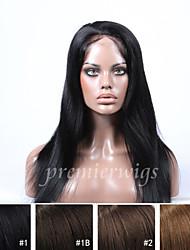 Недорогие -Натуральные волосы Полностью ленточные Парик Прямой Парик 130% Природные волосы / Парик в афро-американском стиле / 100% ручная работа Жен. Короткие / Средние / Длинные / Прямой силуэт