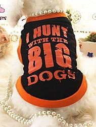 Kat Hund T-shirt Hundetøj Bomuld Sommer Cosplay Bryllup Stribe Bogstav & Nummer Sort Kostume For kæledyr