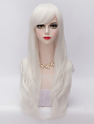 cheap -70cm Long Layered Curly Hair With Side Bang White Heat-resistant Synthetic Harajuku Lolita  Wig
