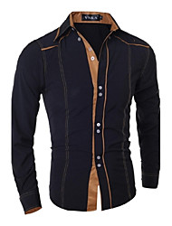 cheap -Men's Daily Casual Spring Fall Shirt,Solid Classic Collar Long Sleeves Cotton Polyester