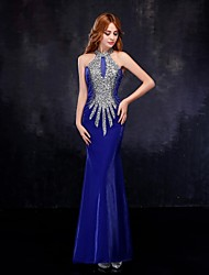 Mermaid / Trumpet High Neck Floor Length Tulle Formal Evening Dress with Crystal Detailing by Embroidered bridal