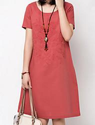 Ležérní/Práce kulatý tvar - Krátké rukávy - ŽENY - Dresses ( Polyester )