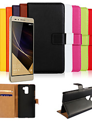 cheap -Genuine Leather Wallet Case for Huawei Honor 7  (Assorted Colors)