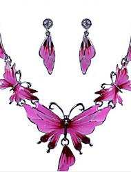 Недорогие -Комплект ювелирных изделий - Позолоченное розовым золотом Цветы, Бабочка, Животный принт Массивный, Винтаж, Для вечеринки Включают Темно-розовый Назначение Для вечеринок Особые случаи Годовщина