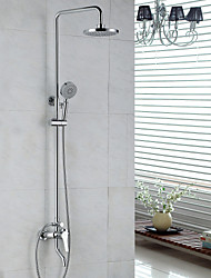 cheap -Contemporary Shower System Rain Shower Handshower Included Ceramic Valve Two Holes Single Handle Two Holes Chrome, Shower Faucet