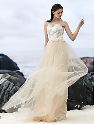 cheap -A-Line Sweetheart Sweep / Brush Train Lace Tulle Custom Wedding Dresses with Lace by LAN TING BRIDE®
