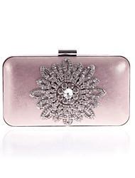 abordables -Femme Sacs Polyester Sac de soirée Cristal / strass / Bijoux acryliques / Fleur Noir / Argent / Rose Claire