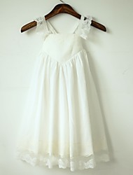 cheap -A-Line Tea Length Flower Girl Dress - Cotton Lace Sleeveless Straps with Pleats by LAN TING BRIDE®