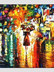 cheap -Oil Paintings Modern Landscape Rainy Street Canvas Material With Wooden Stretcher Ready To Hang SIZE:70*70CM. .