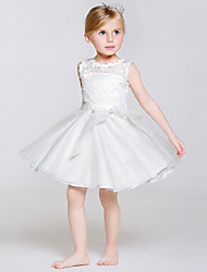 cheap -A-Line Knee Length Flower Girl Dress - Polyester / Lace / Tulle Sleeveless Jewel Neck with Bow(s) / Sash / Ribbon by LAN TING BRIDE®