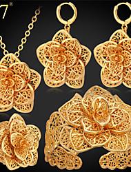 baratos -Mulheres Conjunto de jóias - Banhado a Ouro 18K, Pedaço de Platina, Chapeado Dourado Flor Luxo Incluir Colares com Pendentes Dourado / Prata Para Festa Presente