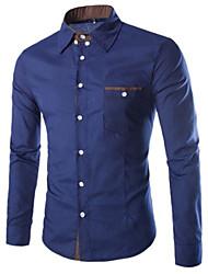 Недорогие -Мужчины На каждый день Рубашка Рубашечный воротник,Простое Однотонный Синий Красный Белый Длинный рукав,Хлопок